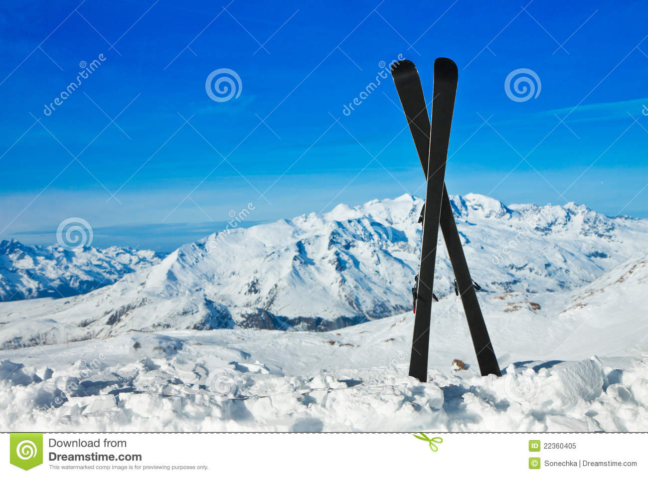 Pair of cross skis in snow winter vacations stock image for Vacation in the snow