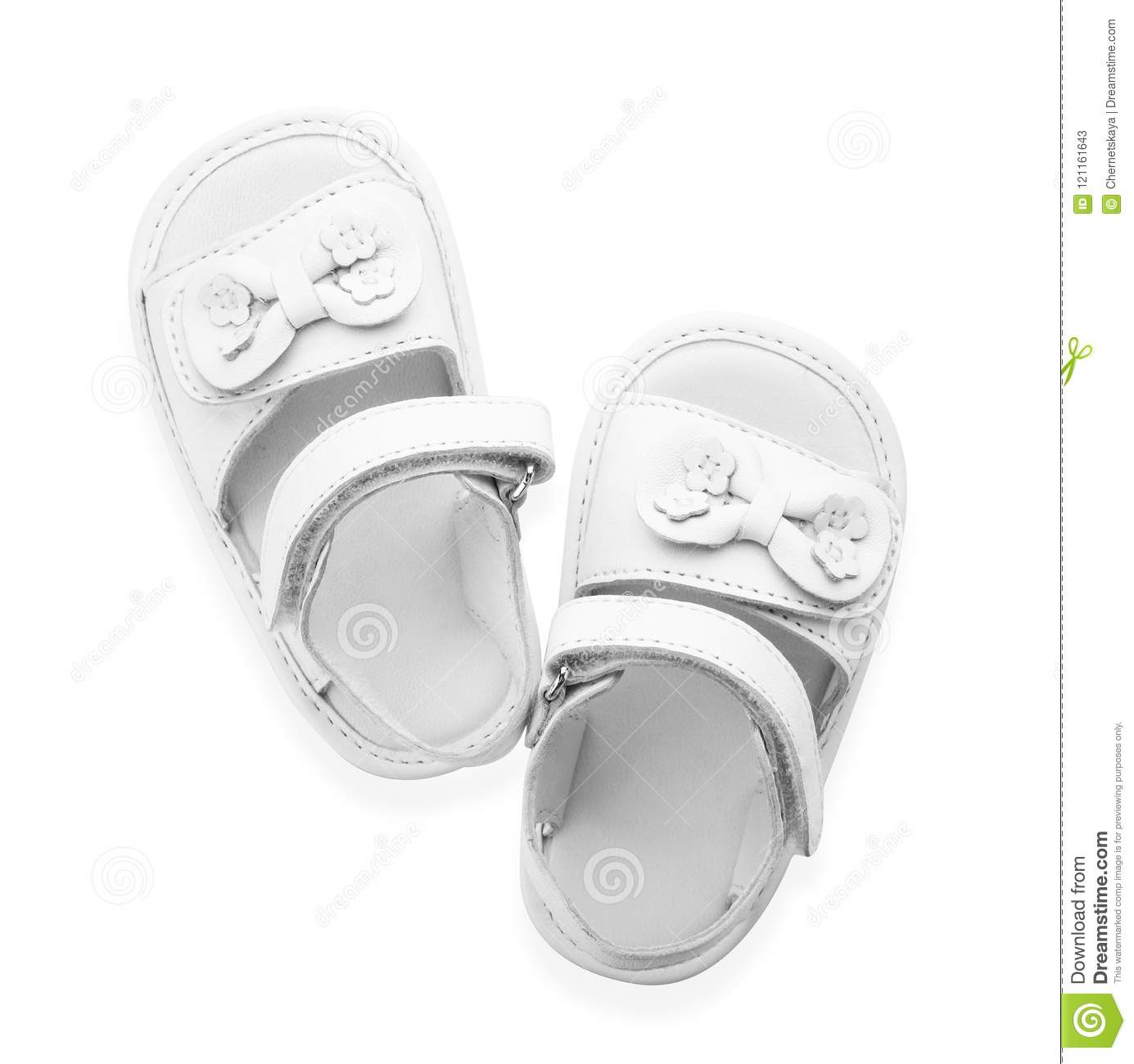 12ffa4c6644e9 Pair Of Cute Baby Sandals Decorated With Bows Stock Image - Image of ...