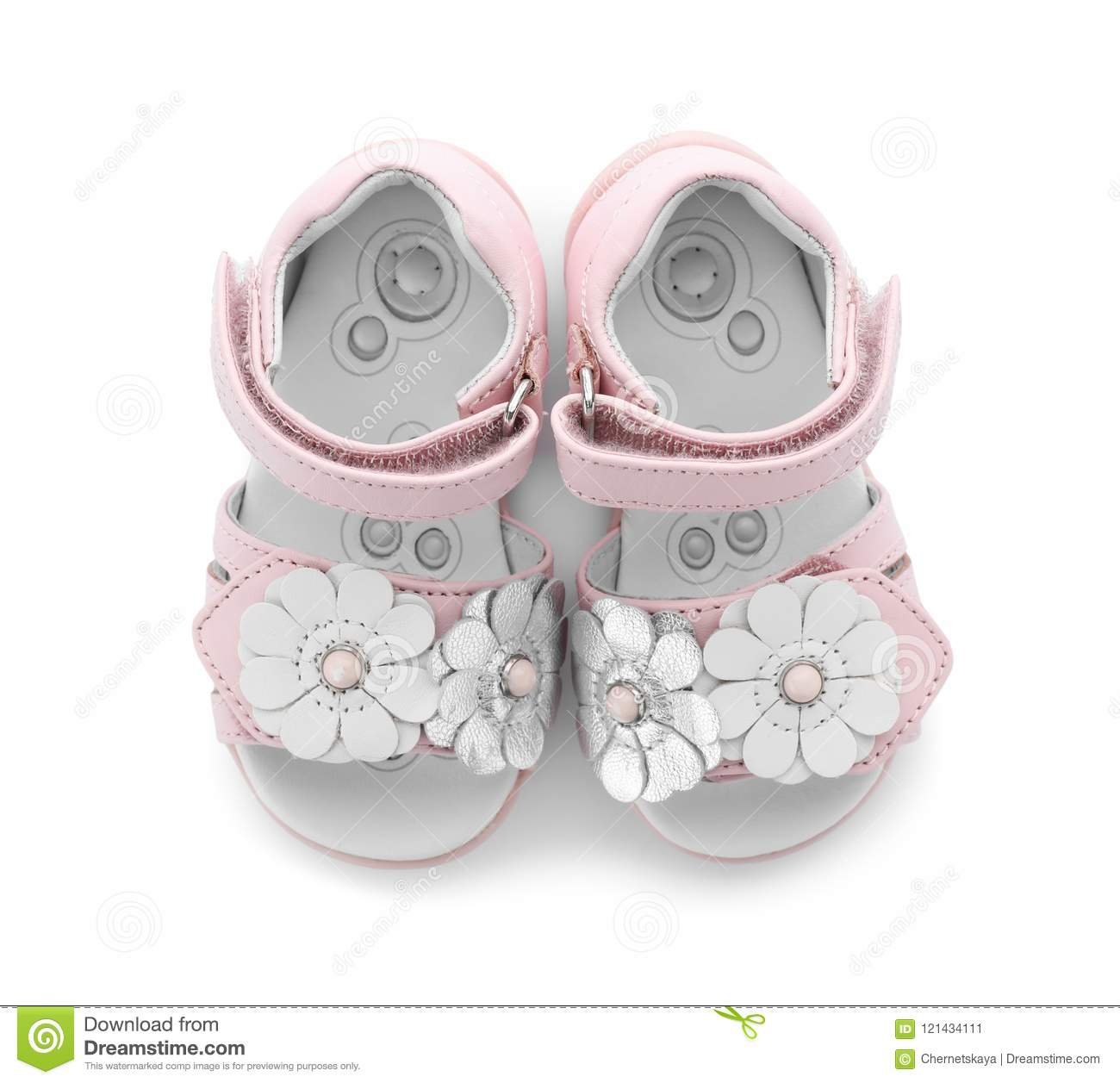4e79105fd7489e Pair Of Cute Baby Sandals Decorated With Flowers Stock Image - Image ...
