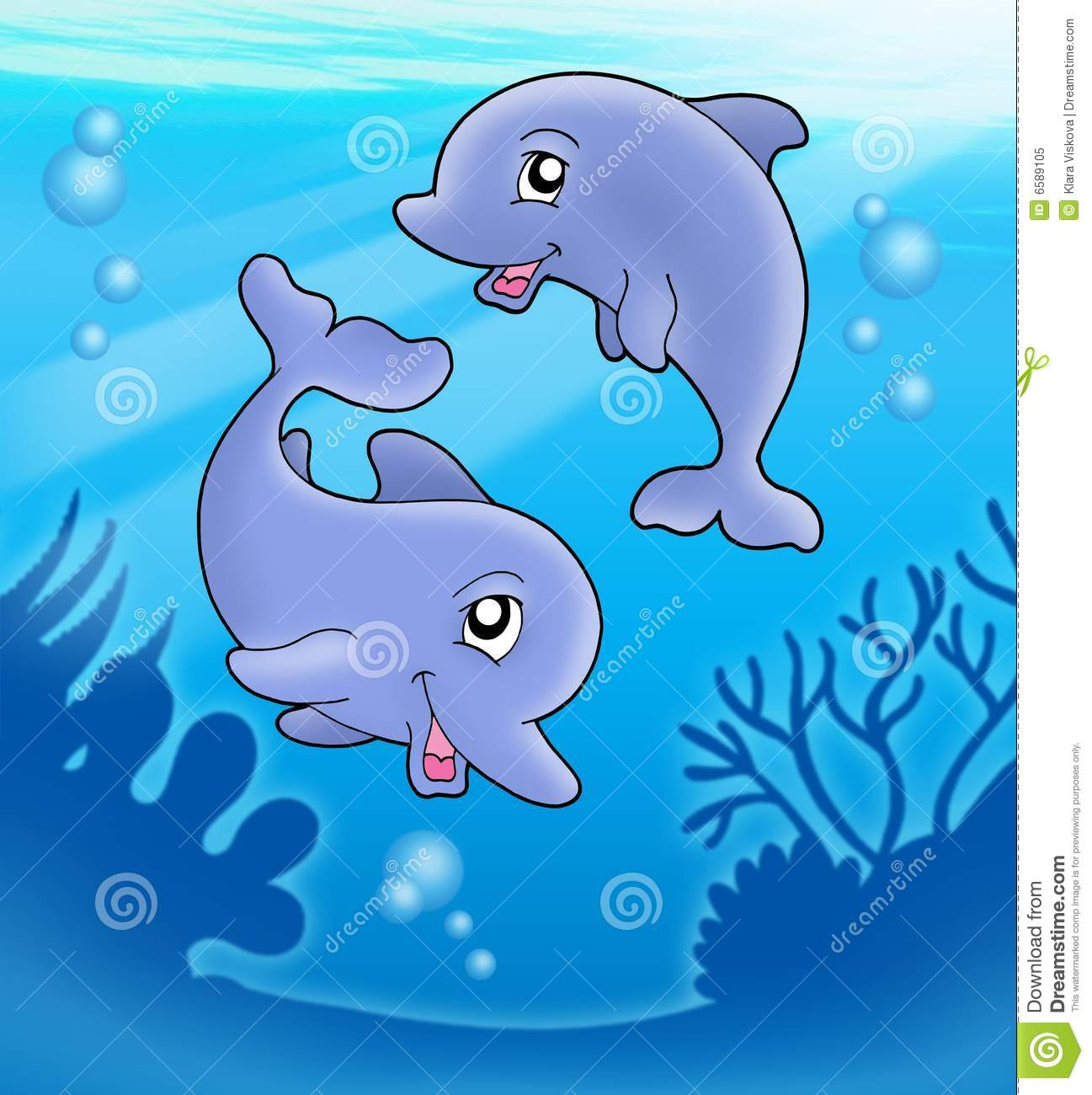 Pair Of Cute Playing Dolphins Stock Illustration ...