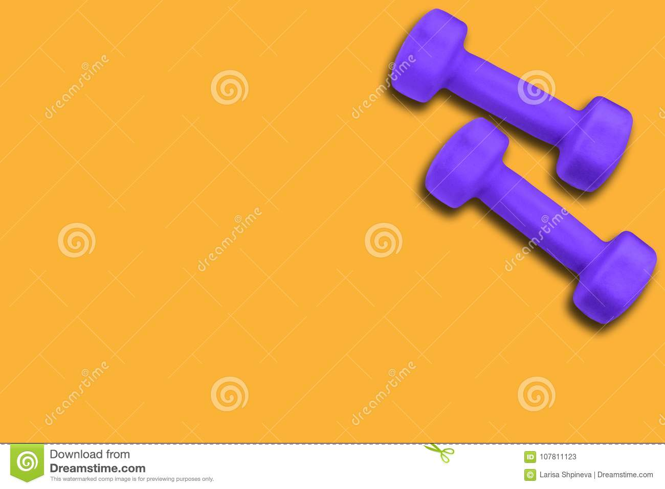 Pair Of Dumbbells Of Color Ultra Violet 18-3838 On A Yellow ...