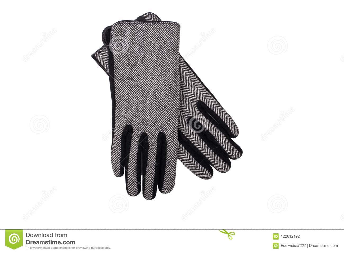 40dda09c5 Pair of woolen gloves isolated on white. More similar stock images. Pair of  women black leather ...
