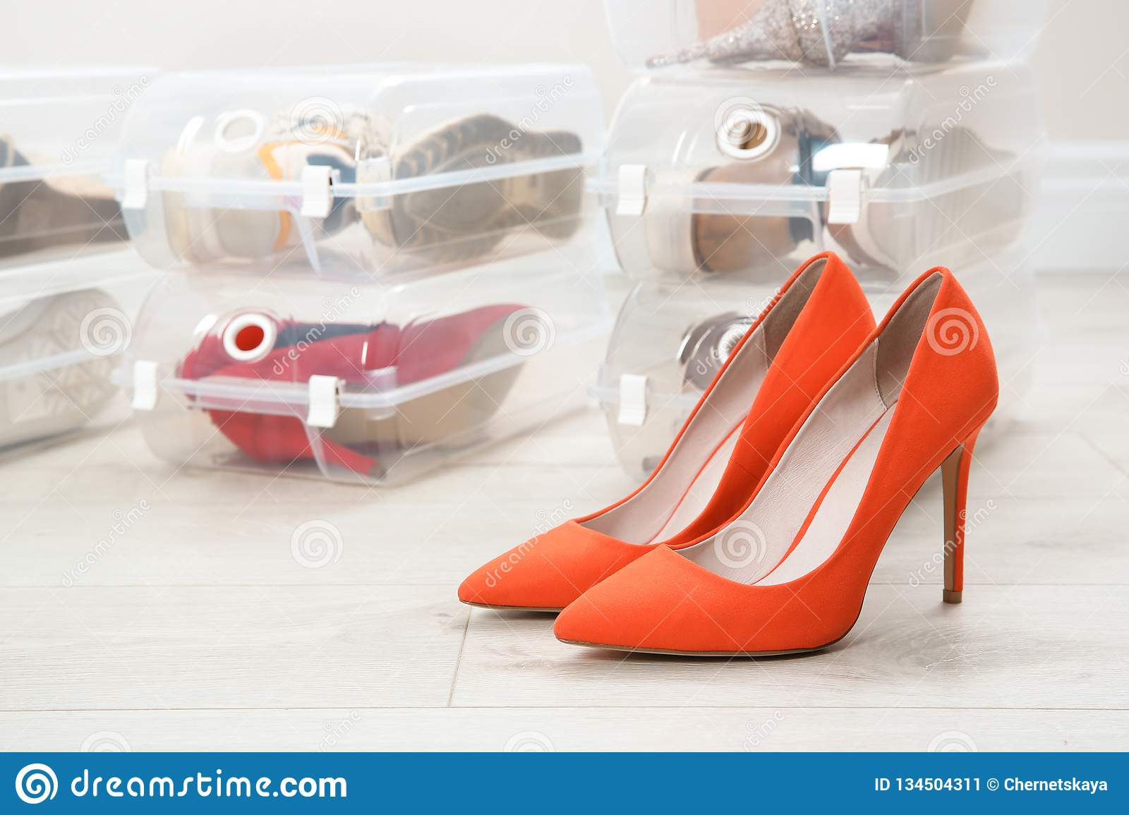 Pair of female shoes and other footwear in plastic boxes on floor
