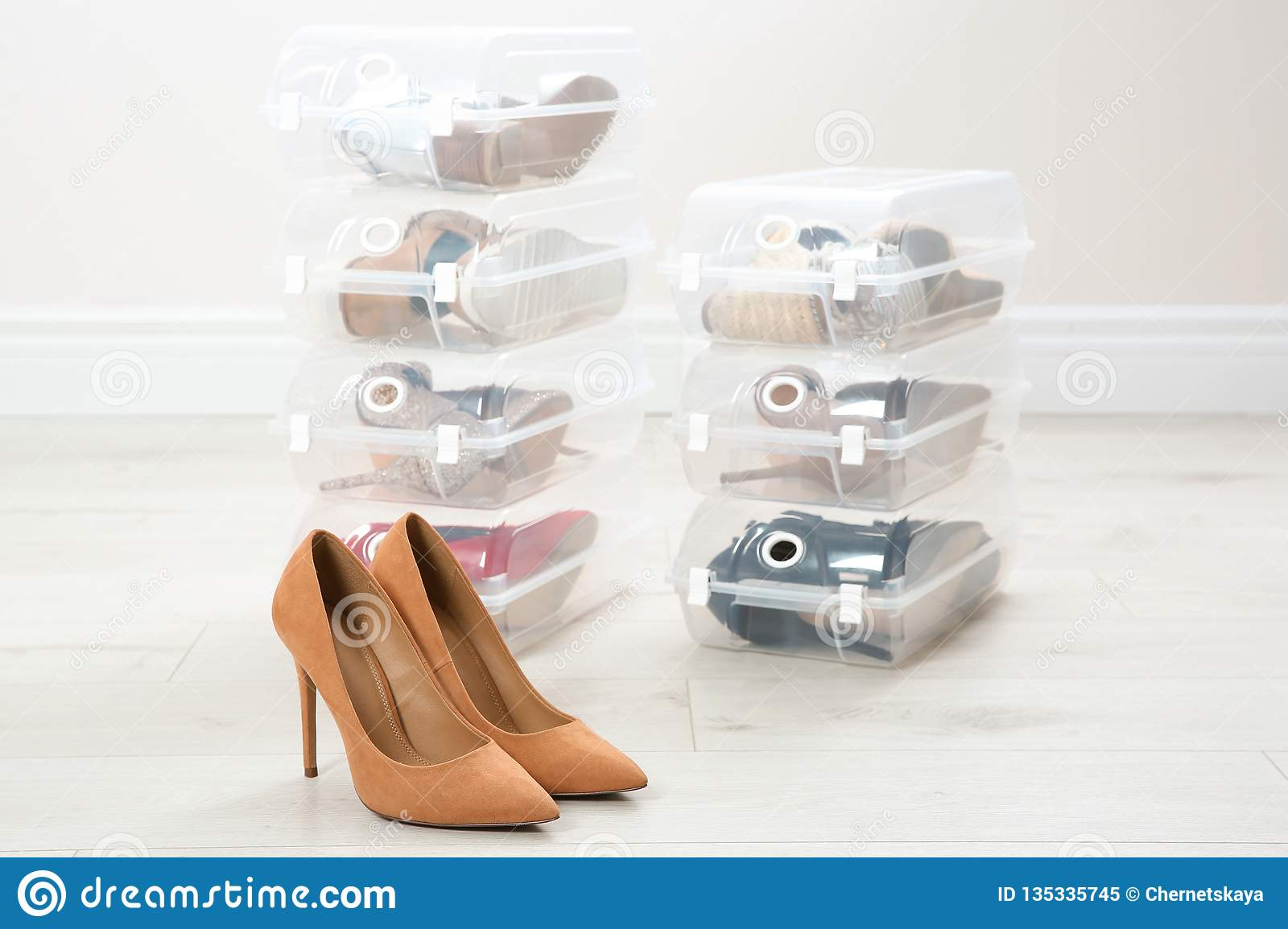 Pair of female shoes and other footwear in plastic boxes on floor.