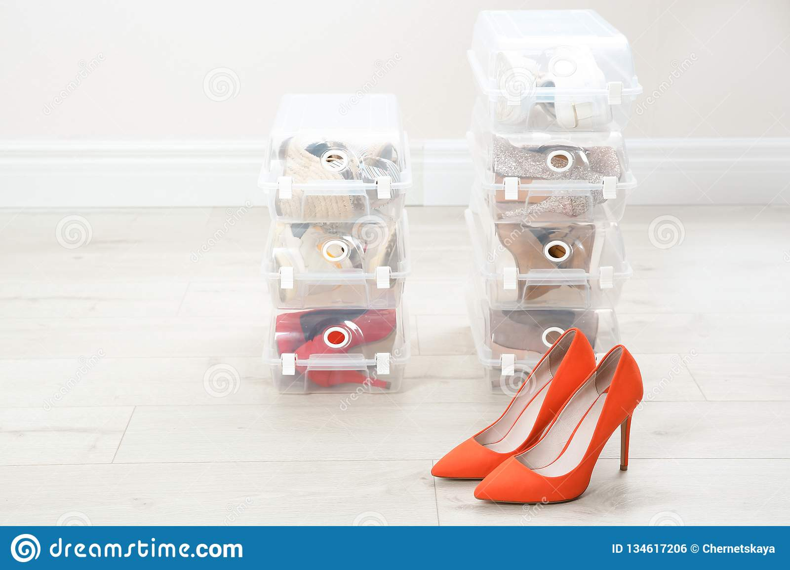 Pair of female shoes and other footwear in plastic boxes