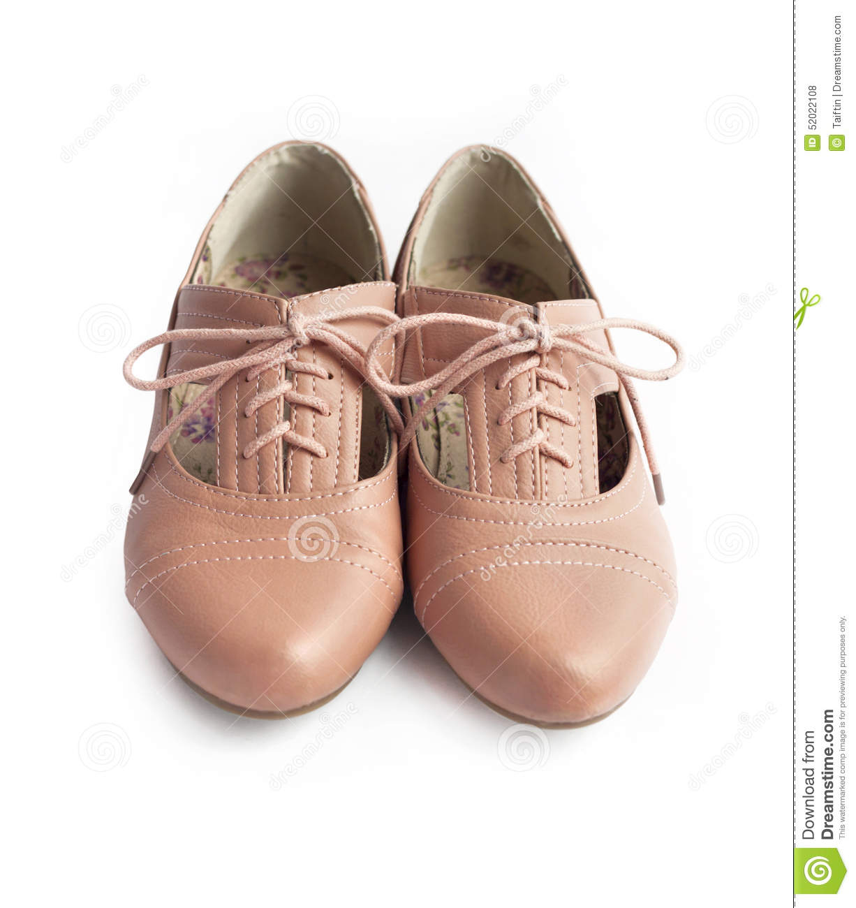e5ca93a42 Pair Of Female Shoes On White Background Stock Photo - Image of ...