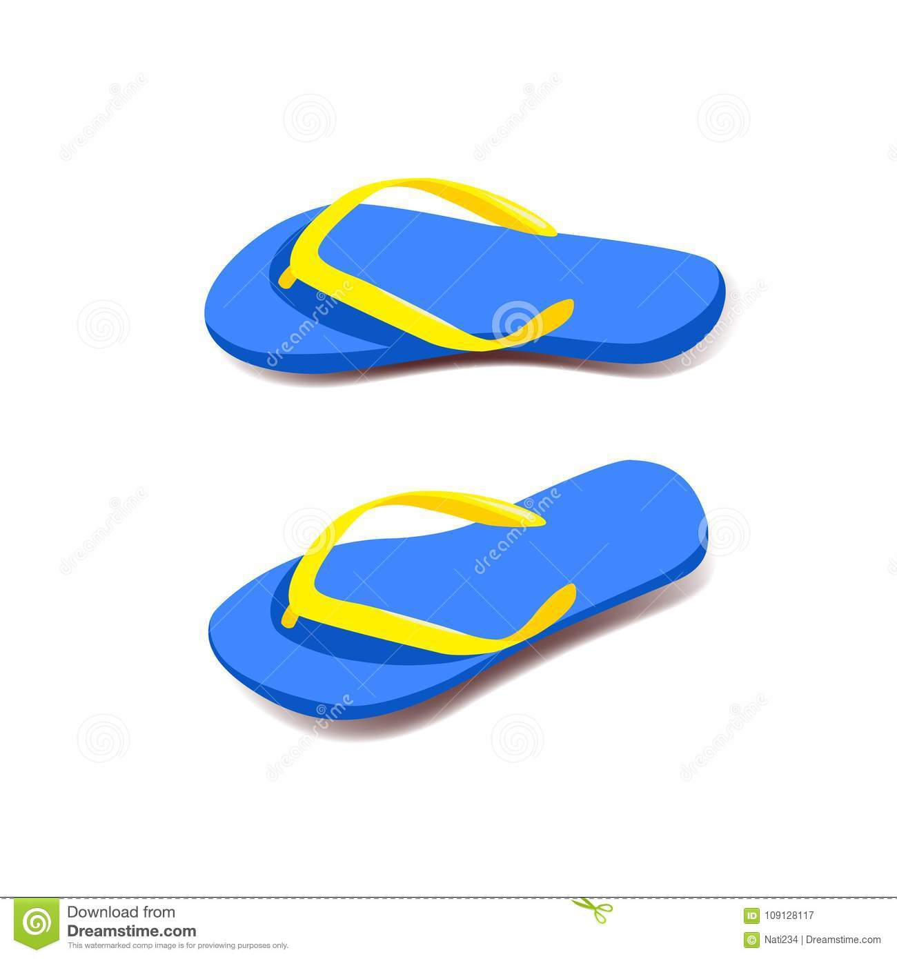 0145be0784eb Pair of flip flops. stock vector. Illustration of blue - 109128117