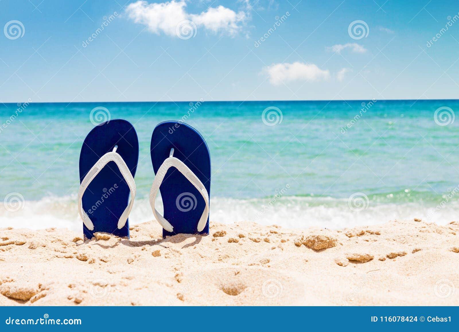 Pair of flip flops on tropical sand beach in summer