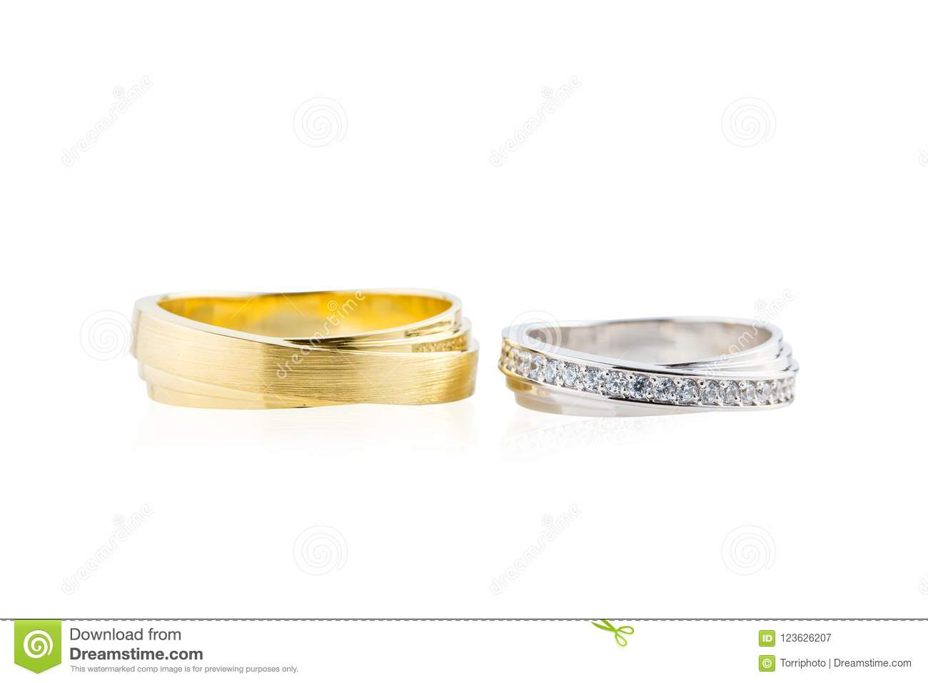 Gold And Silver Wedding Rings Isolated On White Stock Image Image
