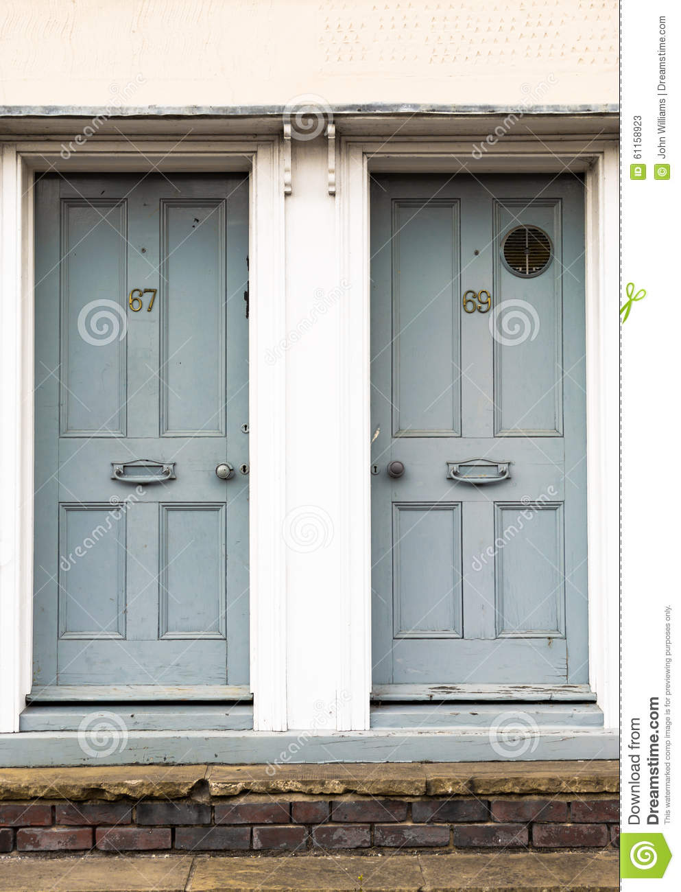 Pair of grey doors stock photo image 61158923 for White wooden front doors