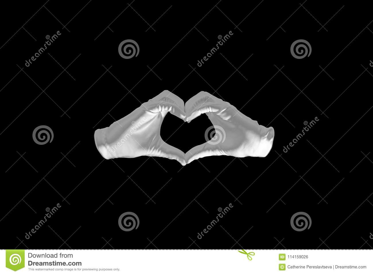 Pair of hands in the form of heart on a black background. love and relationships concept - closeup of hands showing heart shape