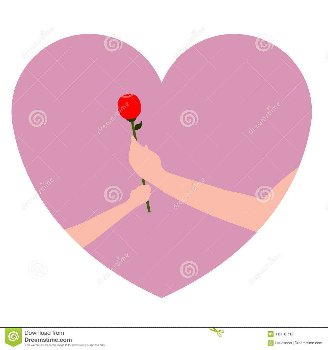 Pair of hands holding a rose