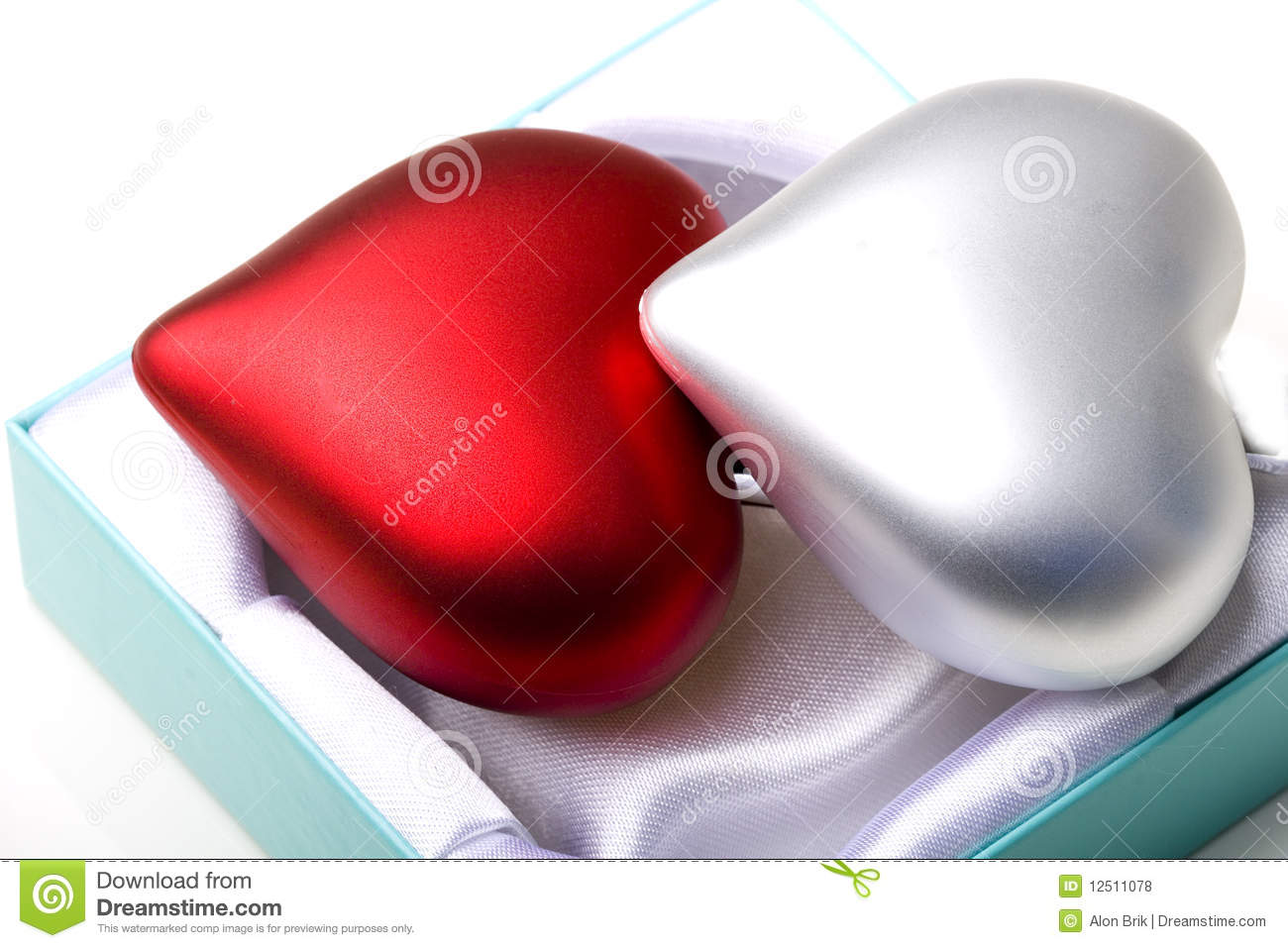 Pair Of Hearts In Gift Box Love Symbol Valentine Stock Photo Image