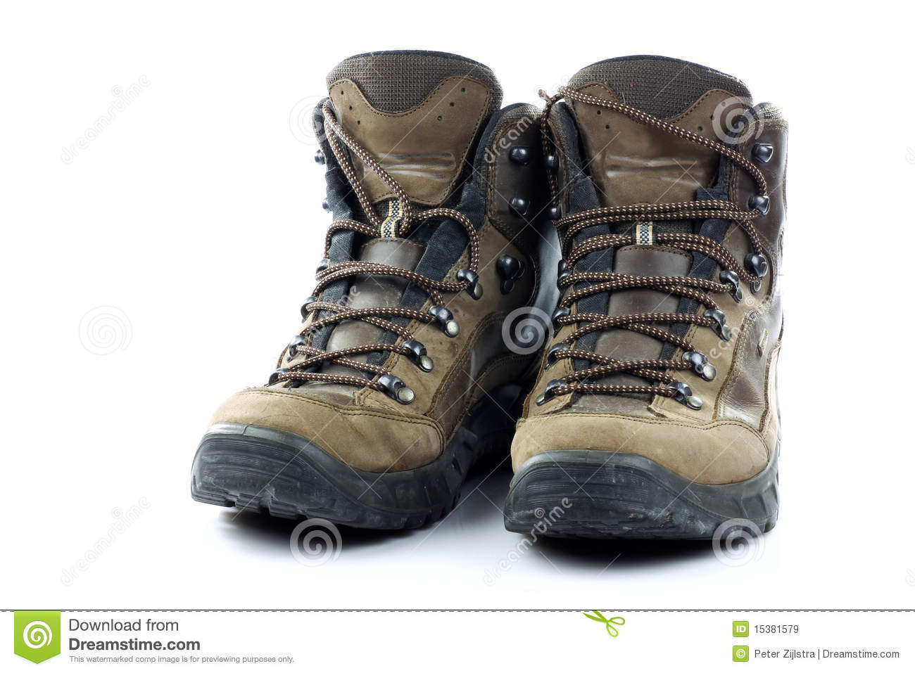 Pair of hiking shoes stock image. Image of shoelaces ...