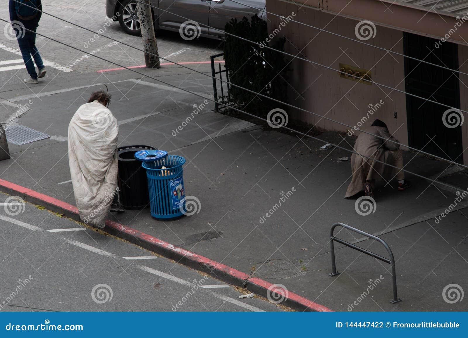 Pair of homeless men in seattle