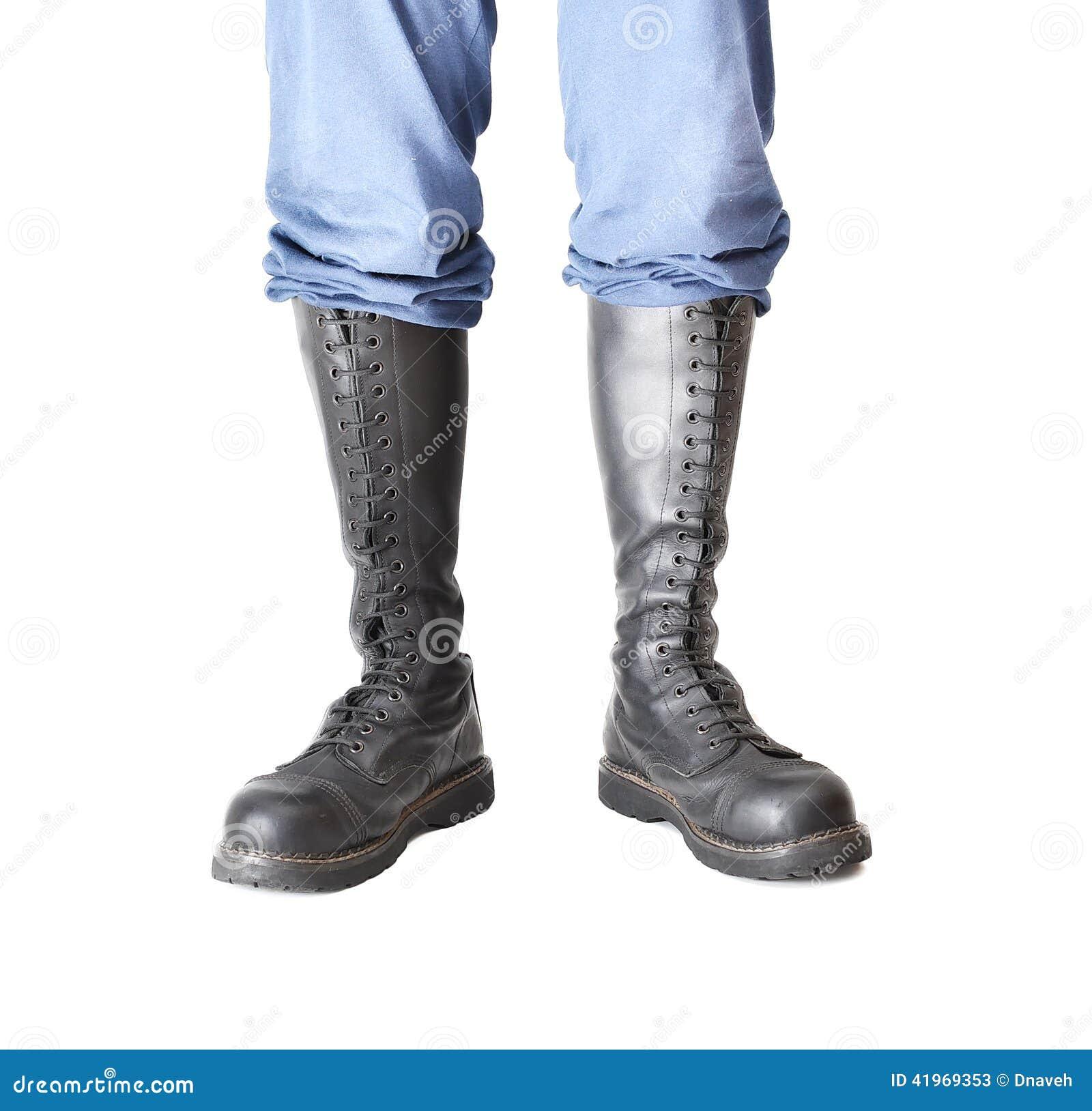 Pair Of Knee high 20 Eyelet Black Steel toe Boots Stock