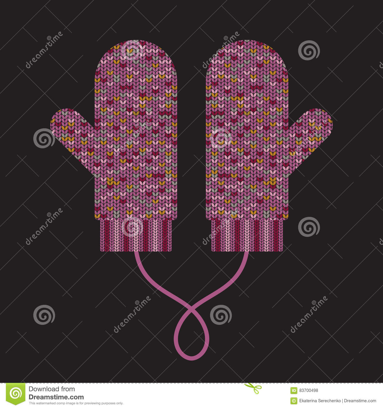 Pair Of Knitted Mittens Stock Vector