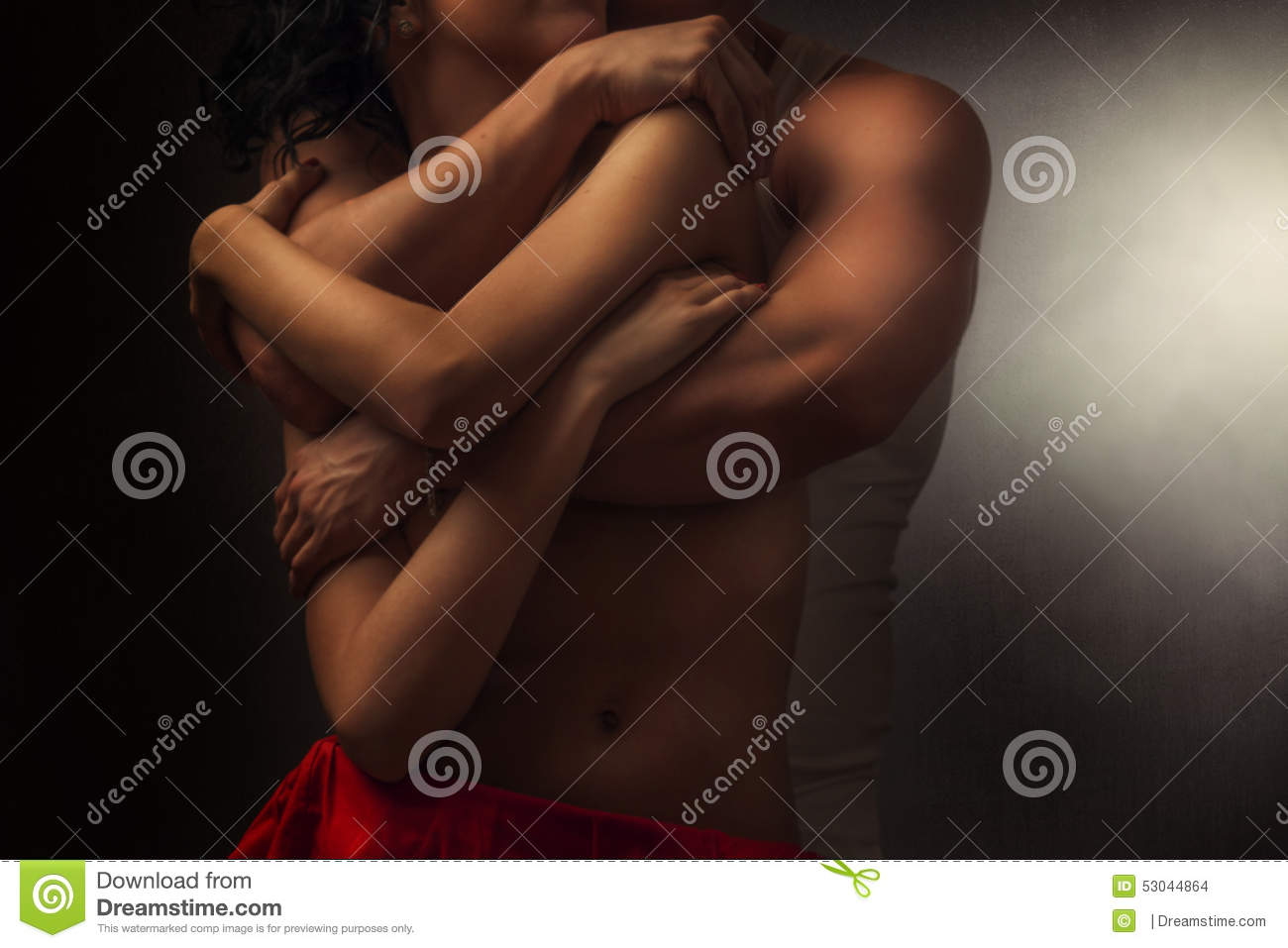 Pair of lovers in embrace
