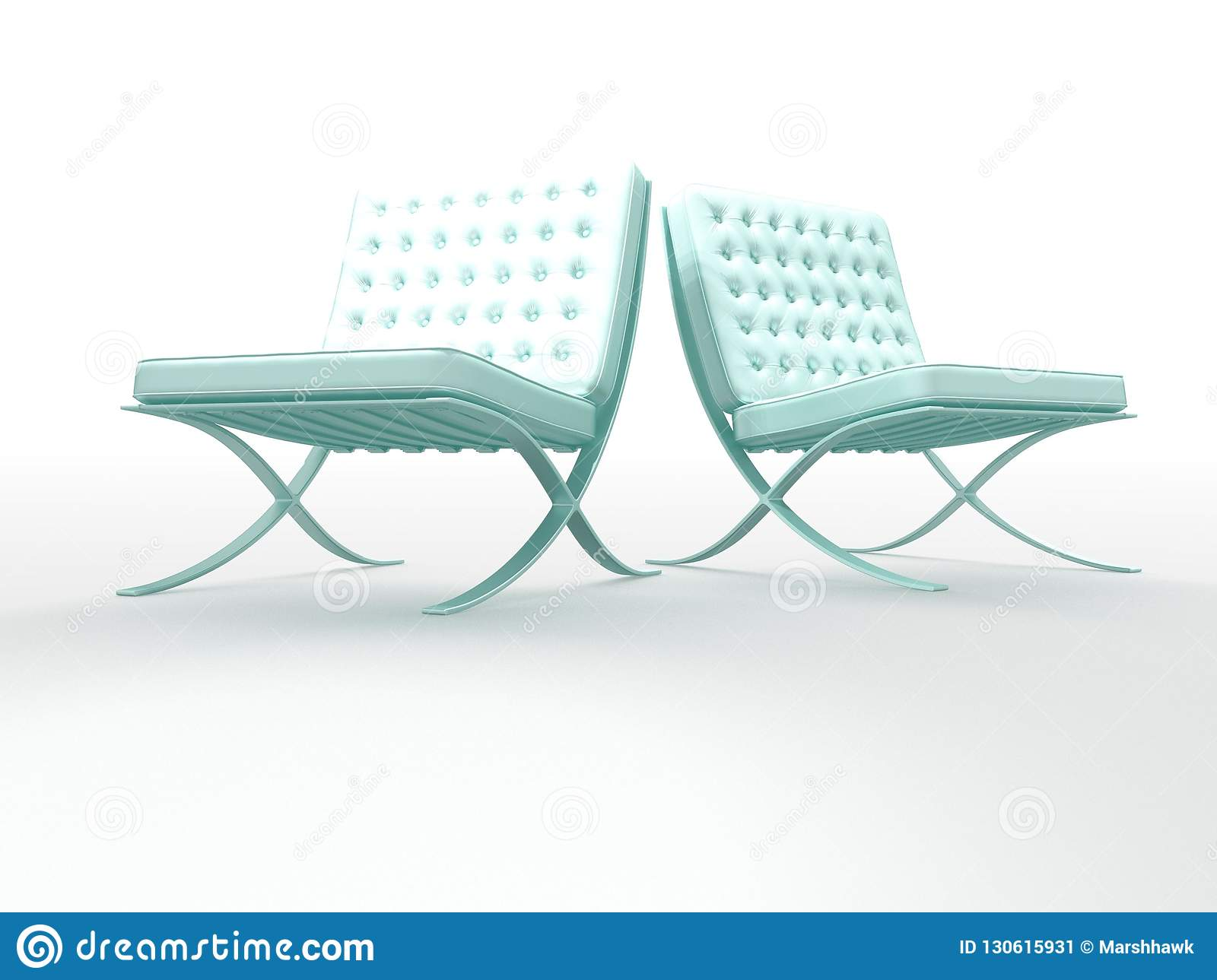 Two Mint Green Tufted Leather Chairs Stock Illustration