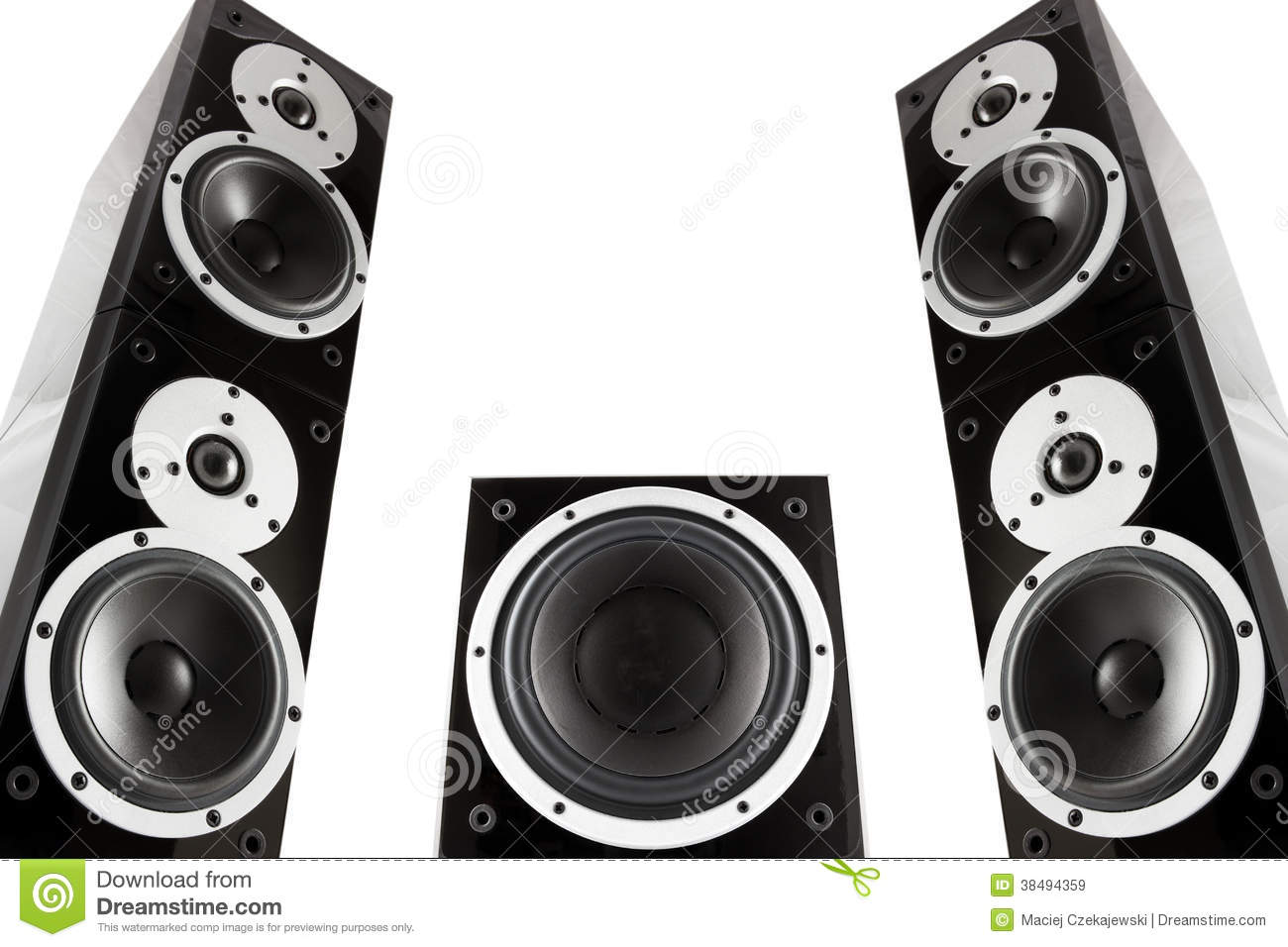 Pair Of Music Speakers And Subwoofer Royalty Free Stock ...