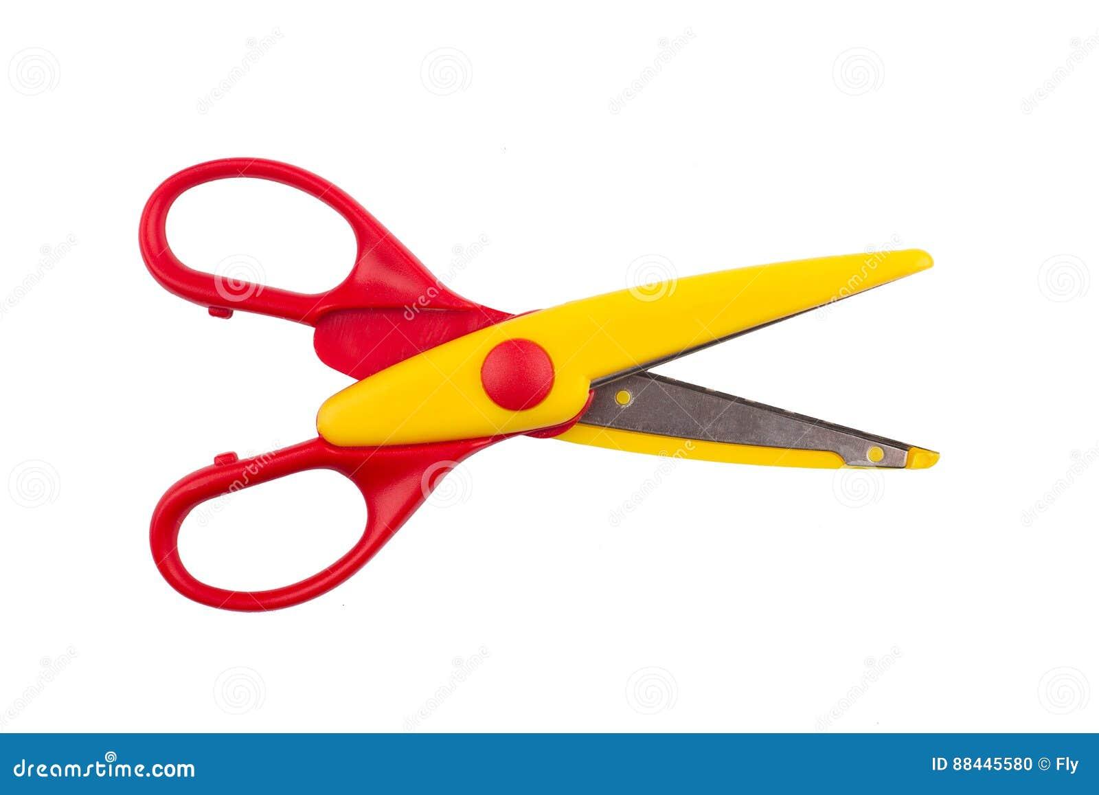 Pair of open red scissors