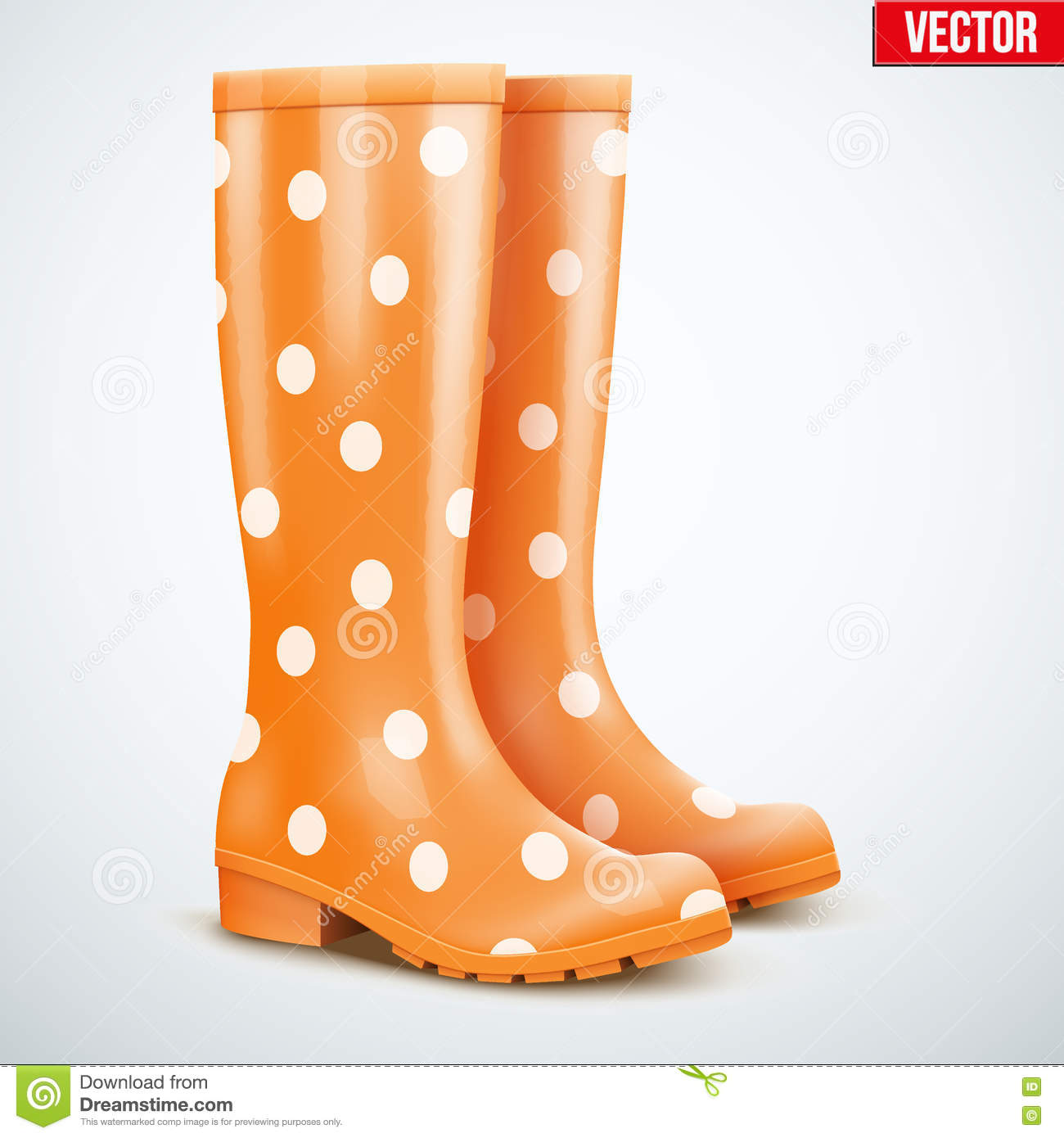 Pair Of Orange Rain Boots Stock Vector - Image: 74127902