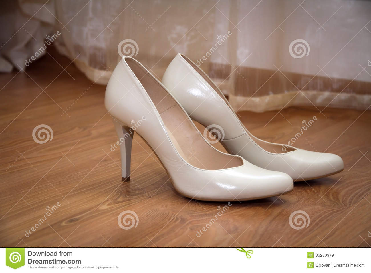 Royalty Free Stock Photo Download A Pair Of Pale Cream Colored Wedding Womens Shoes