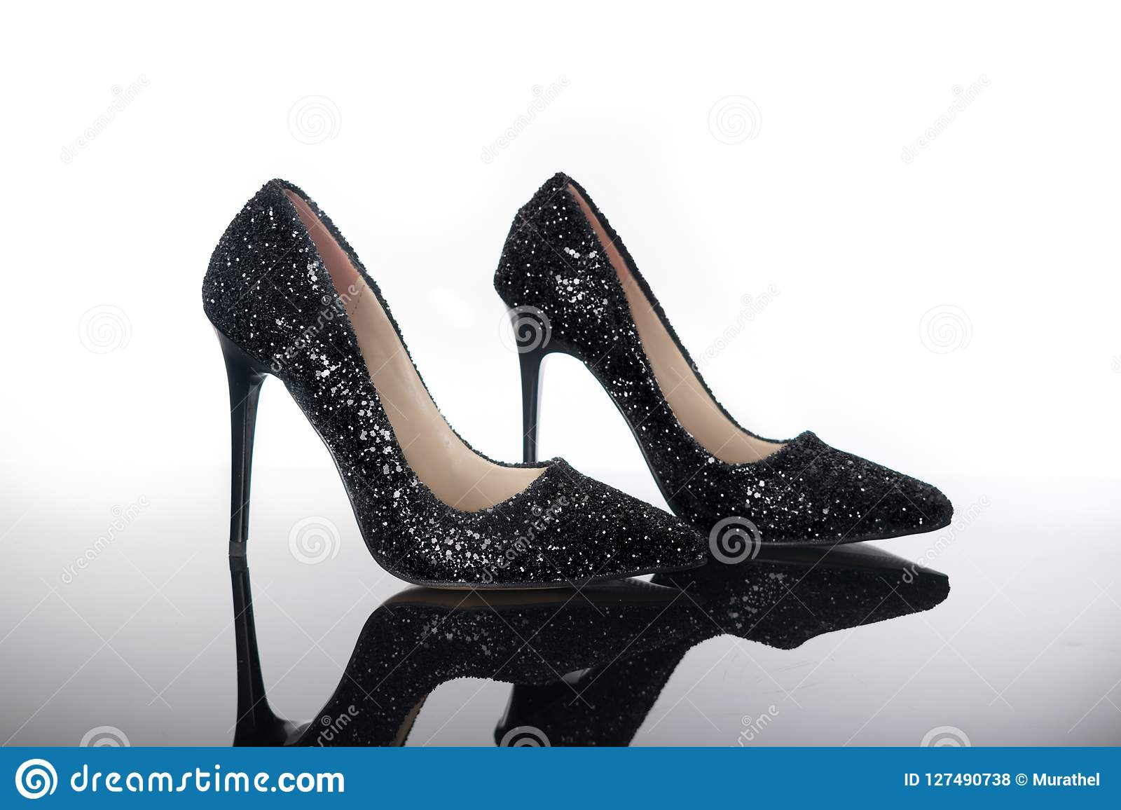 Pair Of Pointed High Heels Shiny Women