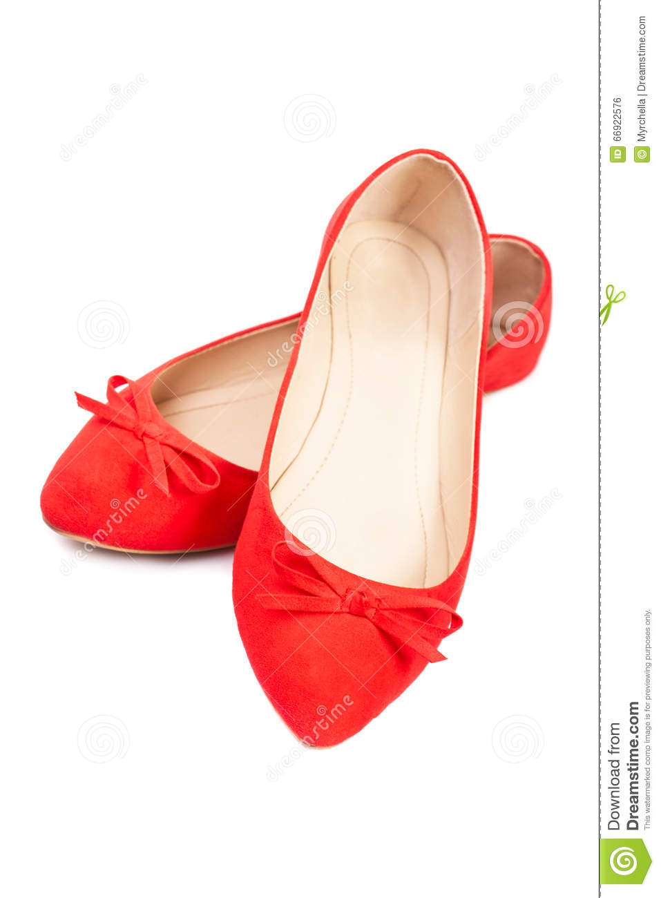 Pair of red female shoes, closeup