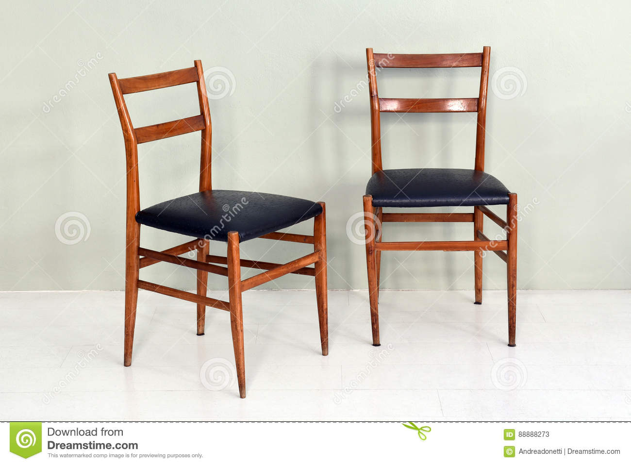 Pair Of Retro Kitchen Chairs With Wood Legs Stock Image ...