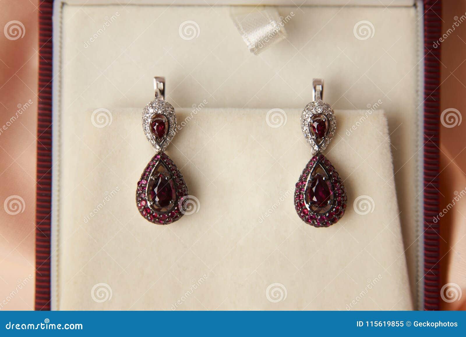 Pair Of Ruby Diamond Earrings In Jewelry Box Stock Image Image