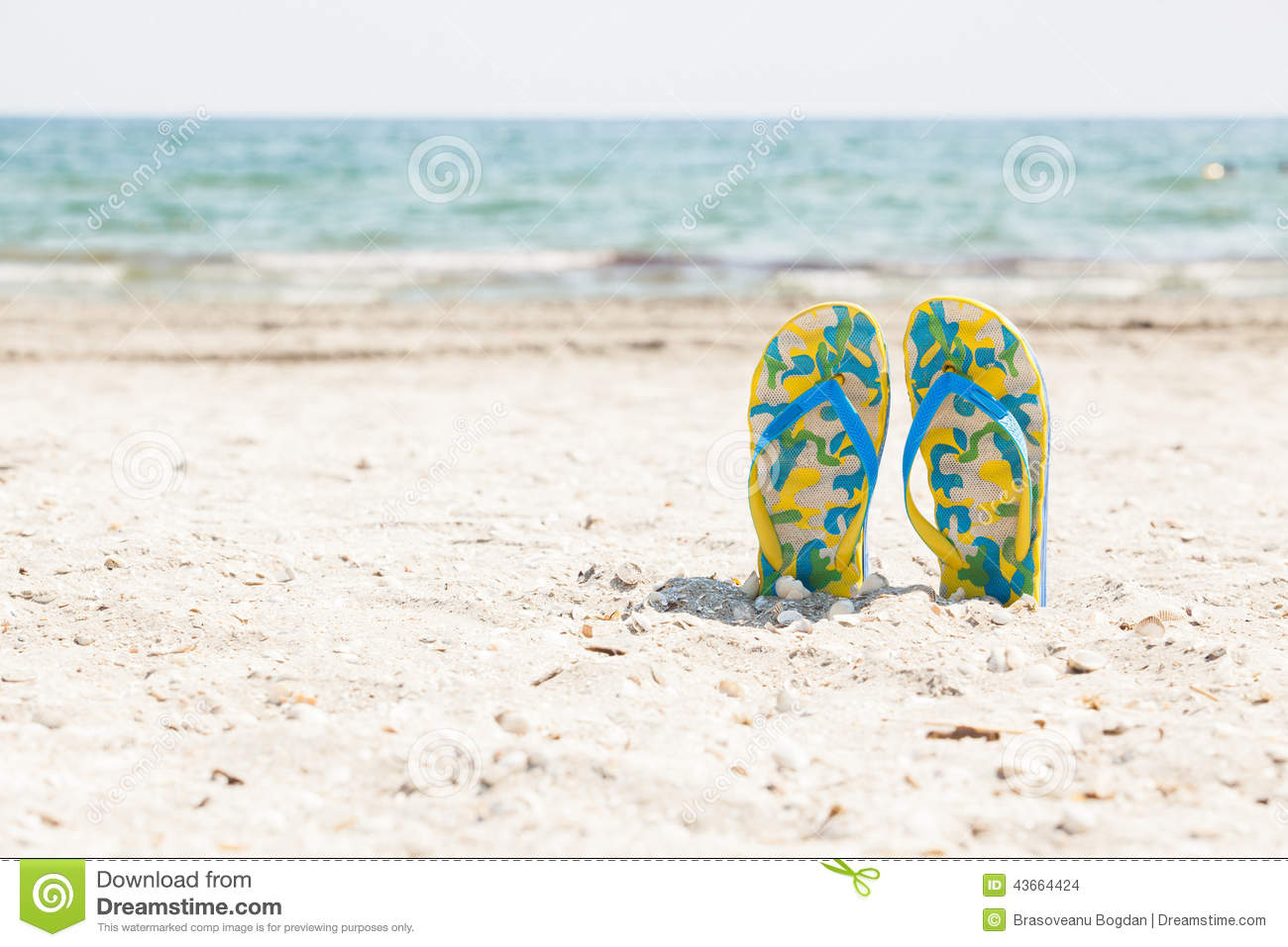 e977aeac7 Pair of colored sandals on a white sand beach in front of the sea. The  right place for relaxation and vacations