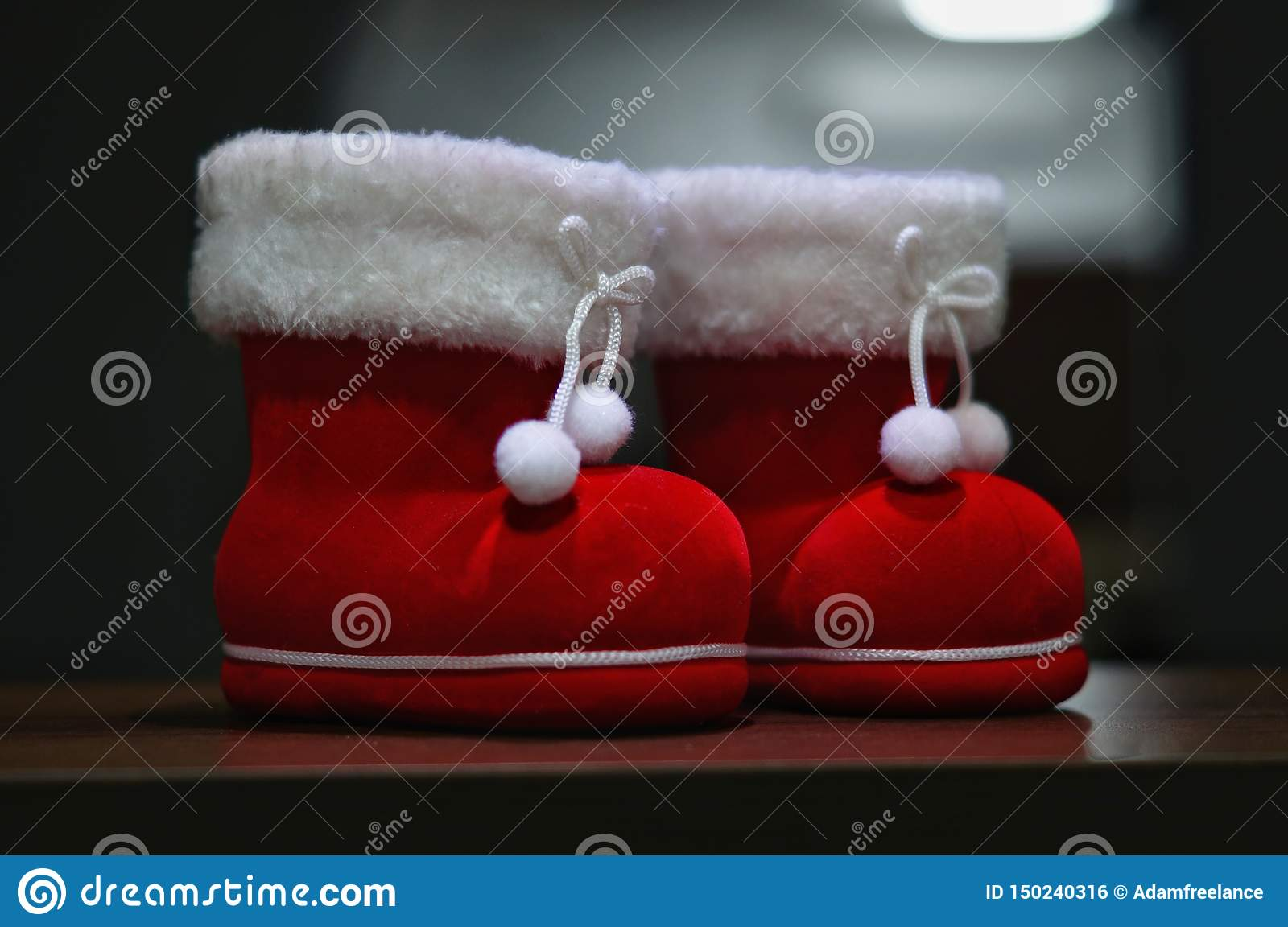 A pair of santa boot deco with dark background