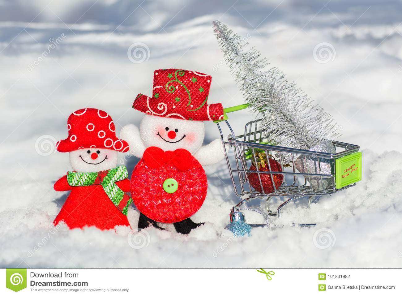 A Pair Of Snowmen A Husband And Wife In A Grocery Cart Drive A ...