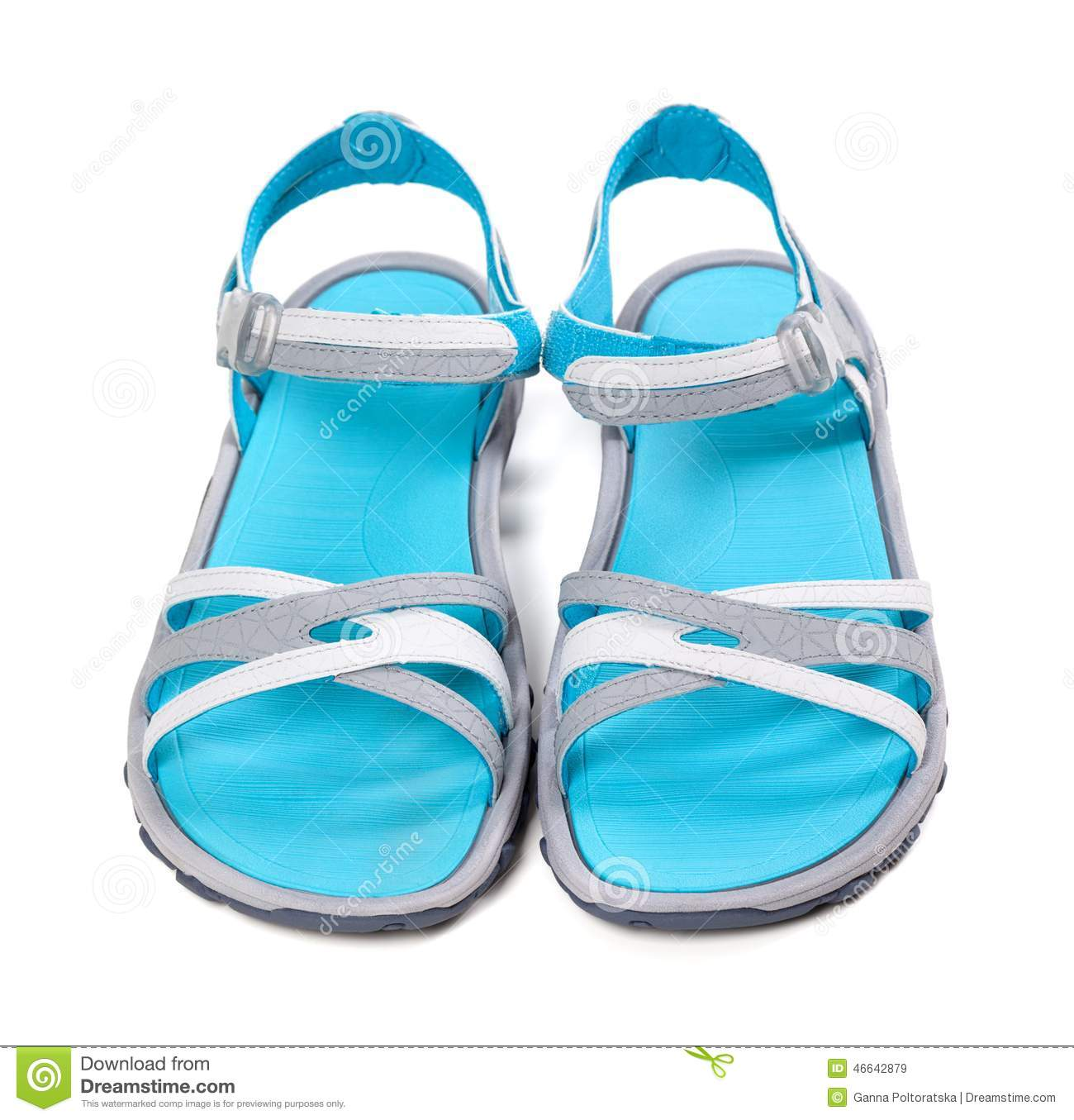 1c16cf4c45d64 Pair Of Summer Sandals. Front View. Stock Image - Image of female ...