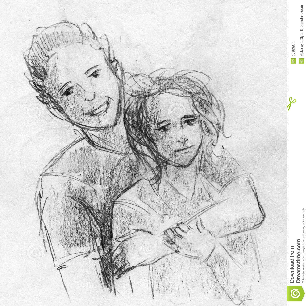 Hand drawn pencil sketch of a pair of teenagers hugging the boy is laughing and the girl looks sad