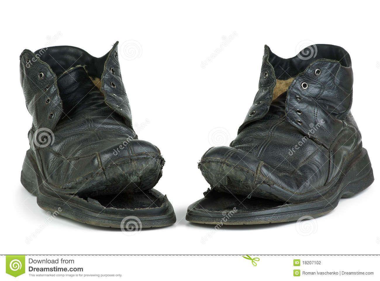 Pair Of Torn Old Boots Stock Photography Image 18207102