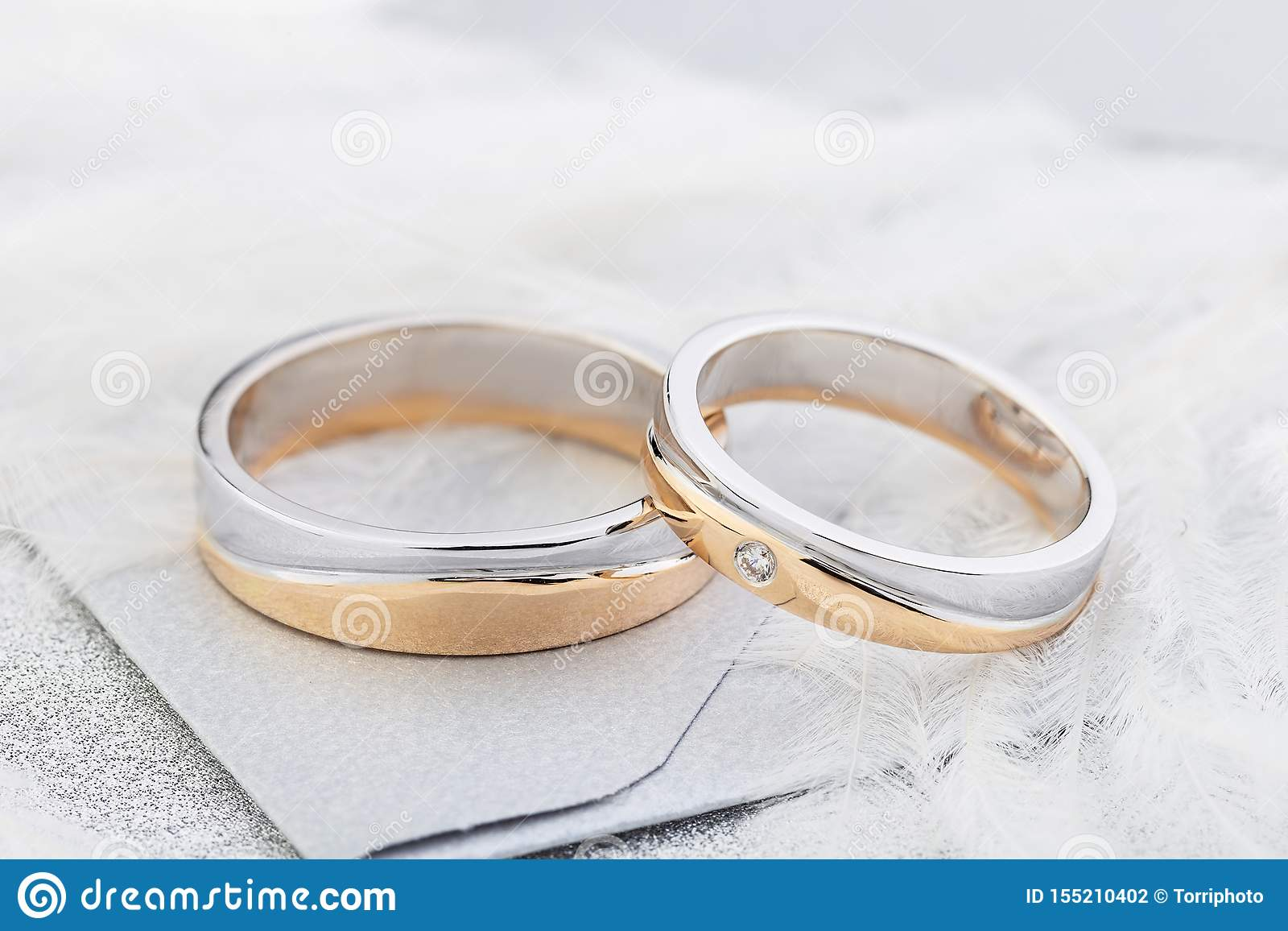 Pair Of Two Tone Gold Wedding Rings Wedding Fashion Stock Photo