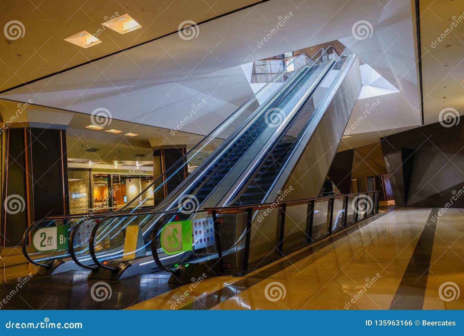 Pair of underground escalators