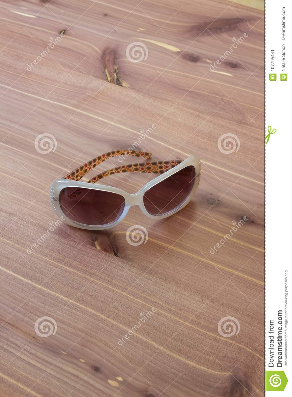 Pair Of Vintage Woman Sunglasses With White Frames, Rhinestones ...