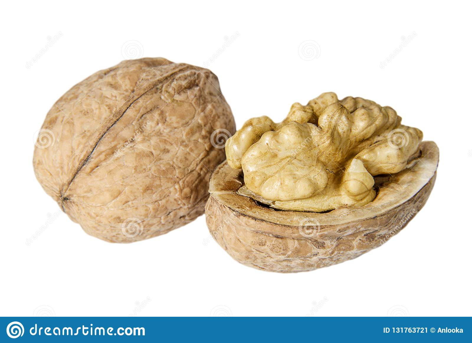 Pair of walnuts on the white background closeup