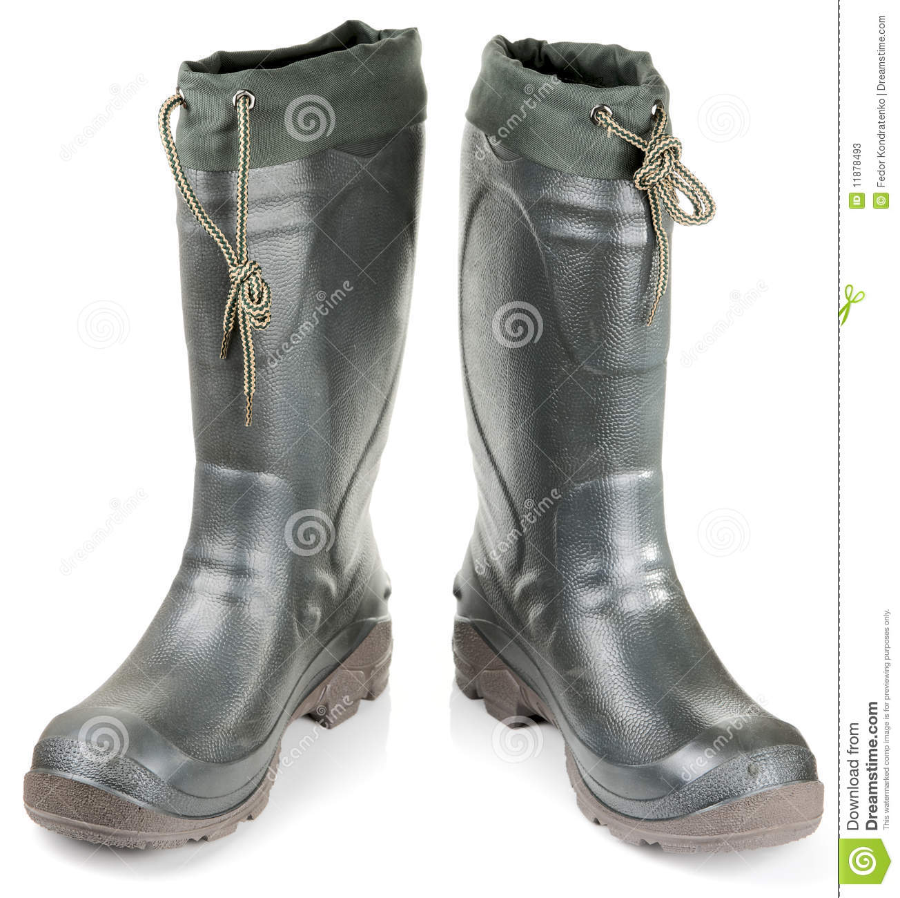 Pair of warm rubber fishing shoes stock photos image for Rubber fishing boots
