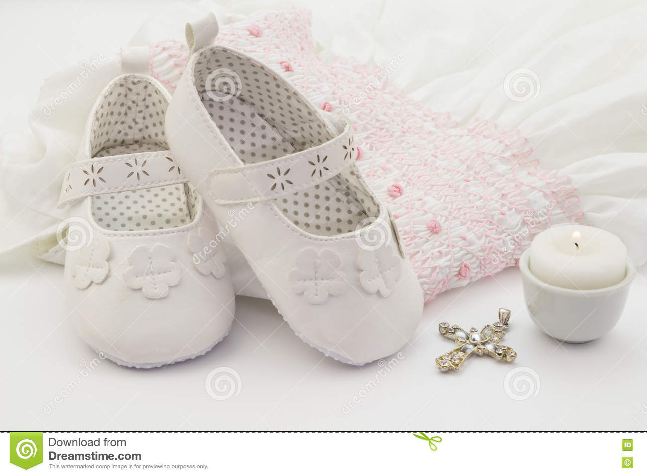 Christening Shoes Girl Candle