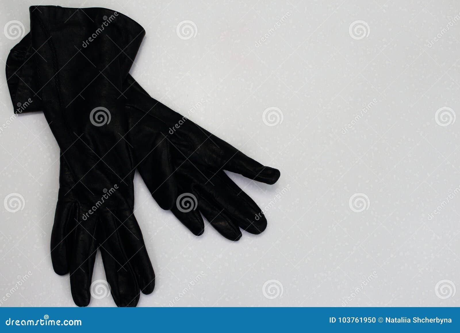 fc2e9f1b1 Pair of women black leather gloves isolated on white background as women  elegant autumn winter fashion