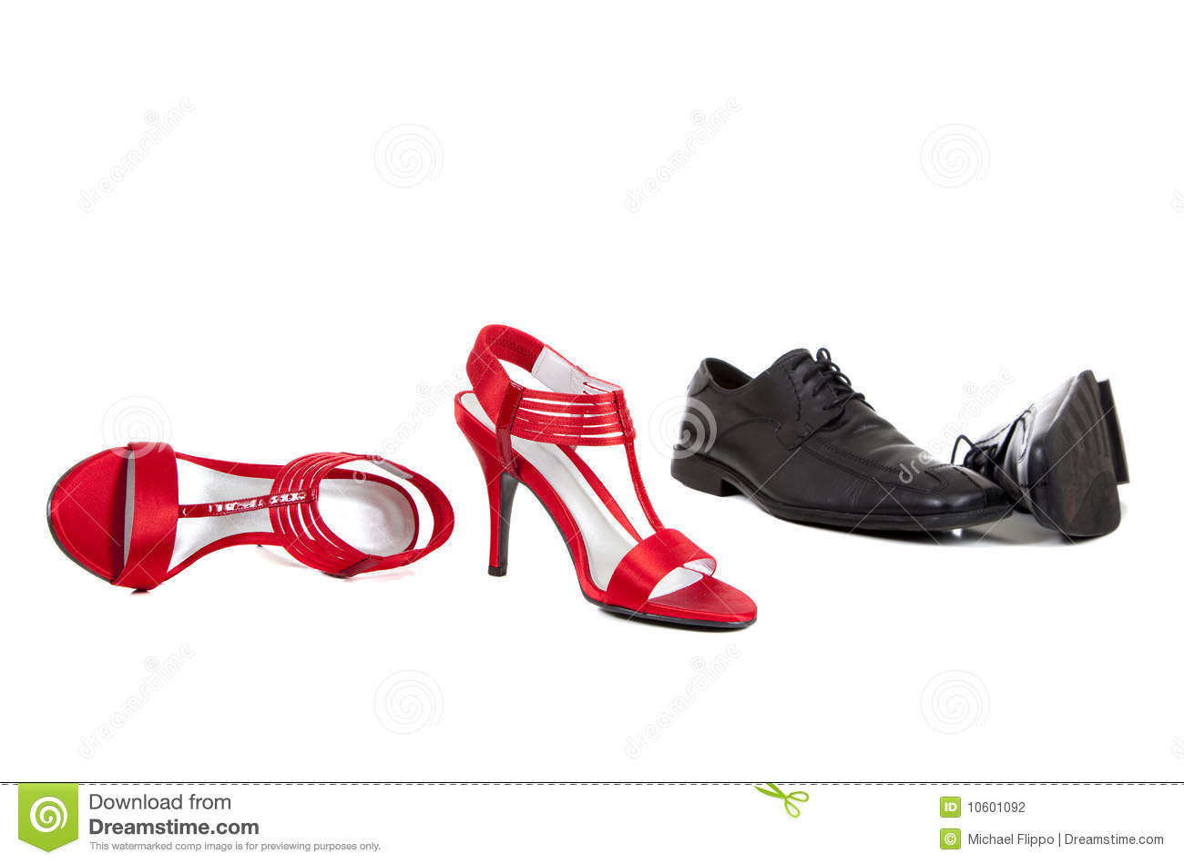 Different mens and womens shoes in the colorful squares Vector