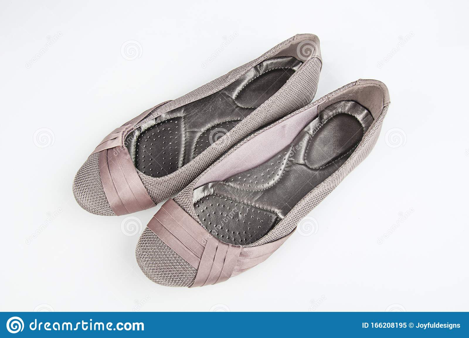 Pair Of Women`s Flat Shoes Isolated