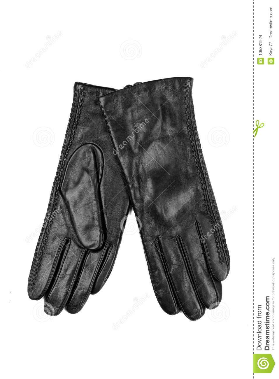 74238fcf3 Pair Of Women`s Leather Gloves. Isolate Stock Photo - Image of ...