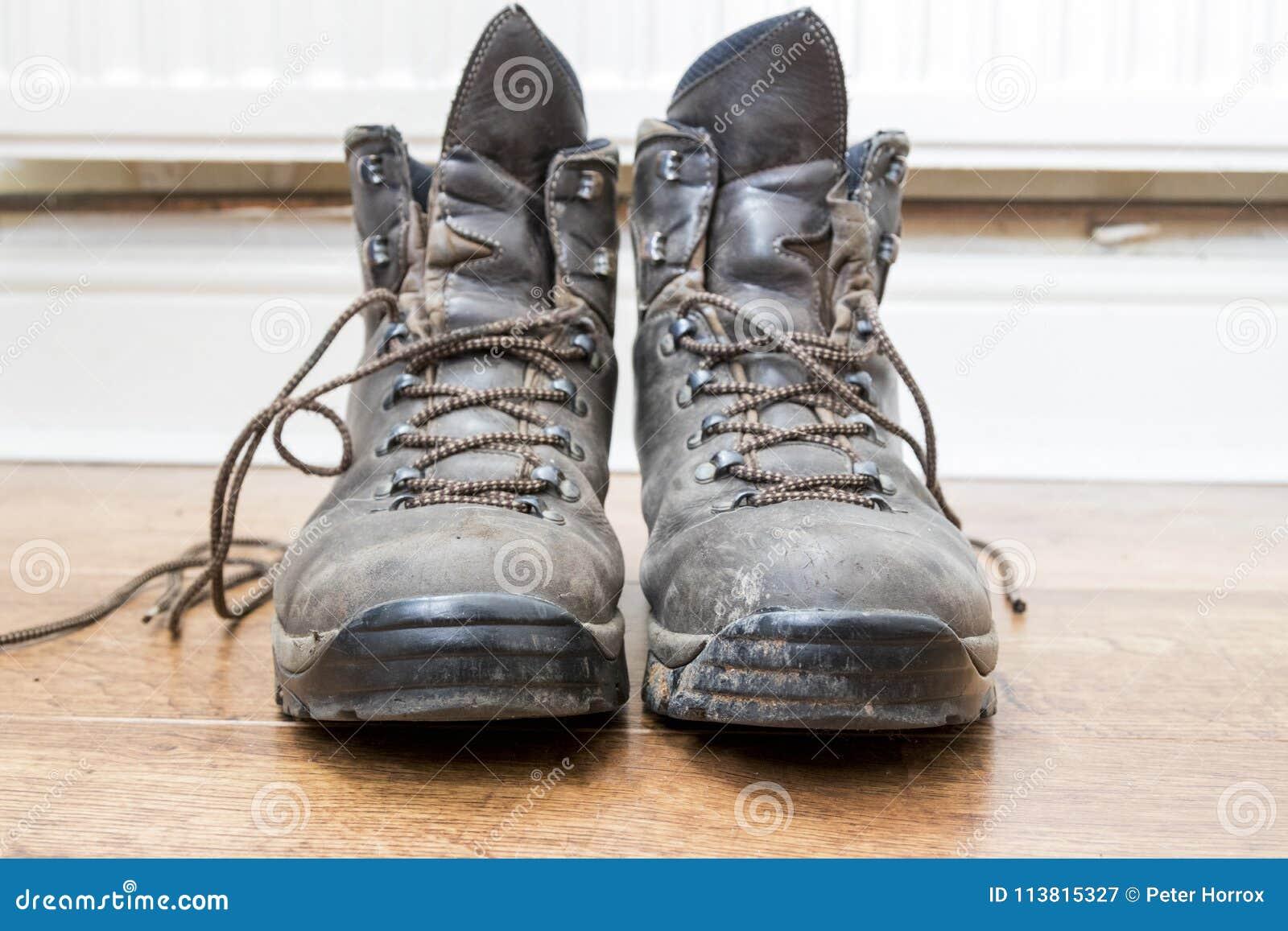 Pair of worn walking boots