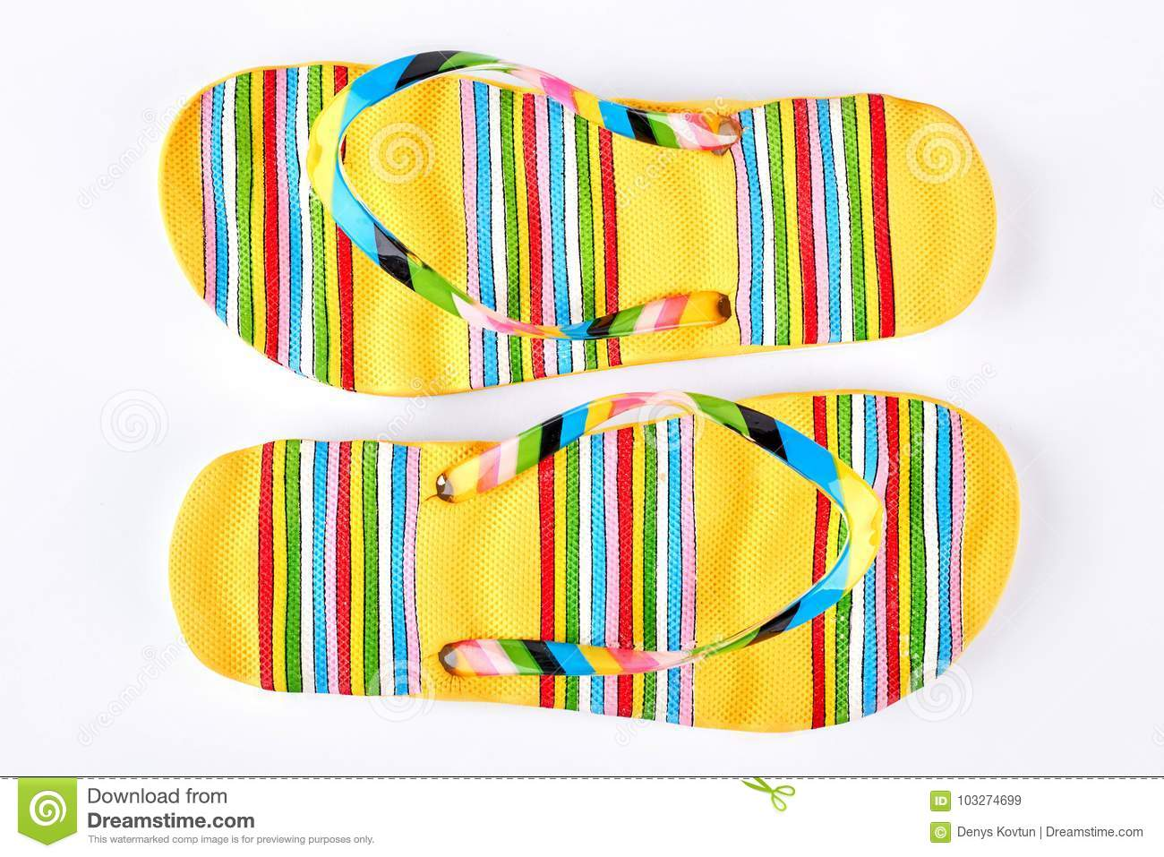 ae04b2fa9 Pair Of Yellow Striped Flip Flops. Stock Image - Image of color ...