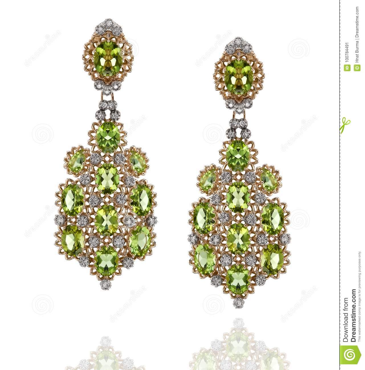 A Pair Of Yellow And White Gold Earrings With Diamonds And